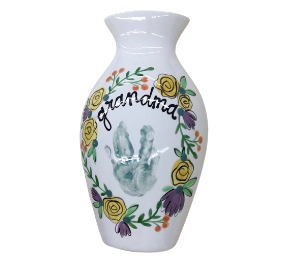 Pleasanton Floral Handprint Vase